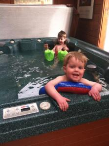 We turned down the spa heat and made it into an indoor pool.  The kids are ready for Spring/Summer as well...