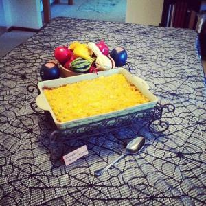 I decided to start off the savory dishes with a pumpkin macaroni and cheese and was excited to watch this table fill up with all kinds of yummy dishes...