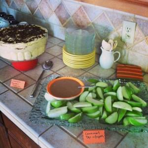 Pumpkin Chocolate Tiramisu and fresh apple slices with a warm caramel dip.