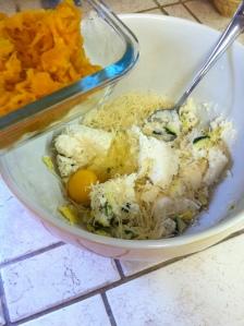 Chop those end bits and mix with parmesean cheese, pumpkin, salt, pepper, garlic powder, ricotta and egg.  Blend well.